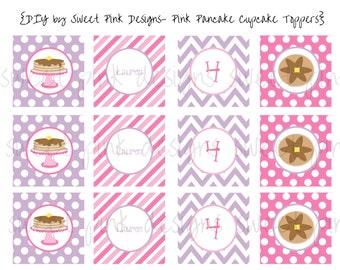 Pink Pancake Party- Cupcake Toppers