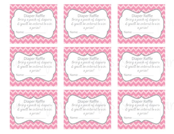 Diaper Raffle Ticket Grey and Pink Chevron by Sweetpinkdesigns