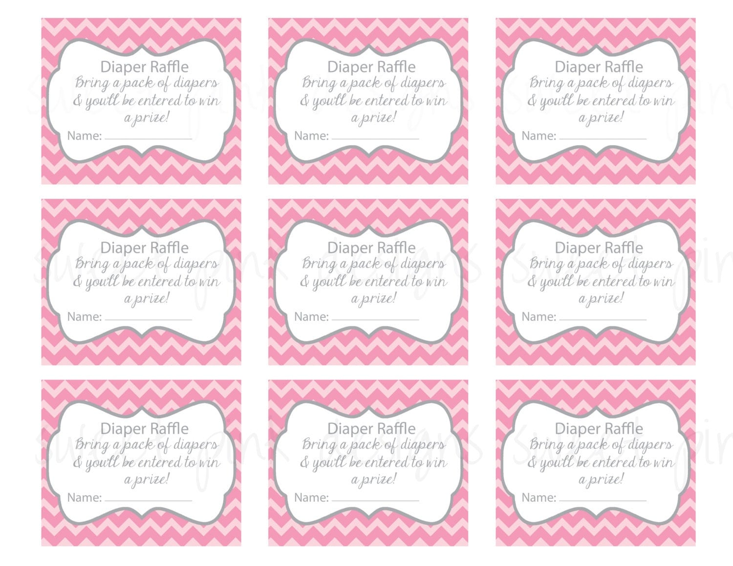 Adaptable image in diaper raffle tickets free printable