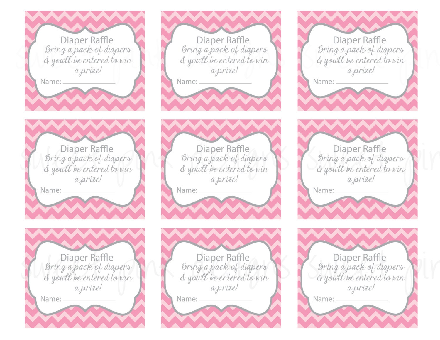 Diaper Raffle Ticket Grey And Pink Chevron