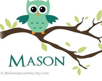 Custom Owl Branch Wall Decal Nursery Kids Personalized Girls Boys Room