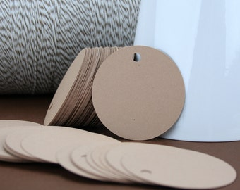 100 - 2 inch Kraft Hang Tags for Jewelry Tags / Merchandise Tags / Product Tags / Labels
