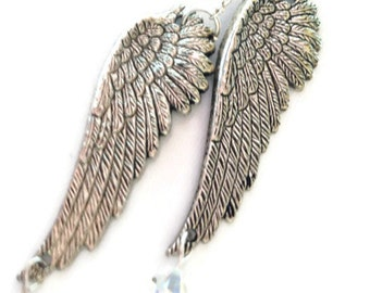 Angel wing necklace, Swarovski crystal necklace, Inspirational necklace