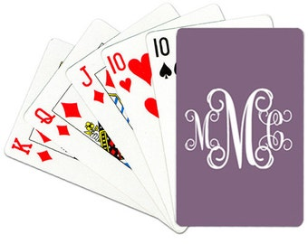 Deck of Cards Personalized Playing Cards Monogrammed Poker Cards Custom Card Deck Choose Colors