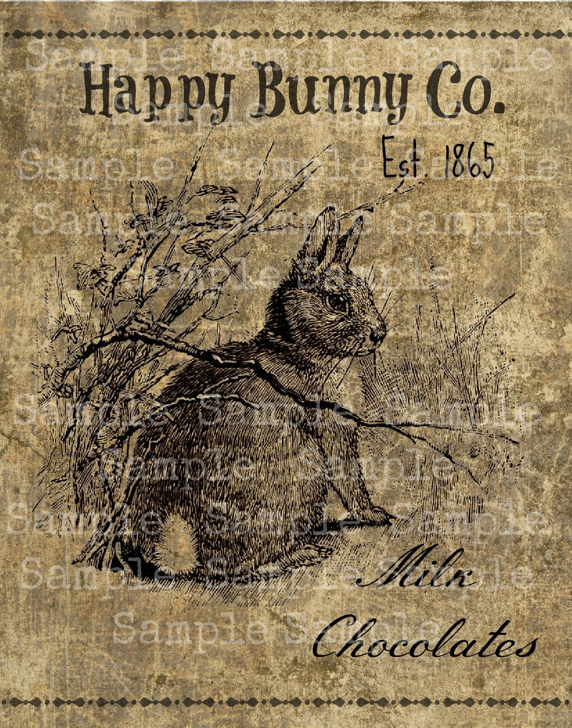 primitive vintage bunny rabbit jpeg digital image feedsack