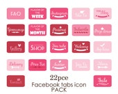22pc Facebook app tabs - Cherry Pop - Apps buttons - Facebook tab images - Instant Download