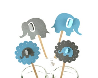 12 Elephant Cupcake Toppers / Elephant Party / Elephant Baby Shower / Elephant Invitation /Elephant Party Decor