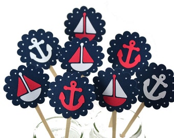 12 Nautical Cupcake Toppers / Nautical Baby Shower / Nautical Invitation / Nautical Party Favors / Sailboat Cupcake Toppers / Pink Sailboat