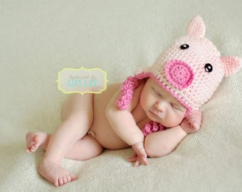Crochet Pig Hat - Baby Pig Hat - Pink Little Piggy Hat - Animal Hat - Farm Animal Hat - Newborn Photo Prop - Crochet Piggy Hat - Curly Tail