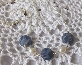 Kyanite Coin & Pearl Necklace