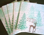 Stampin Up Reindeer Christmas Cards, White Christmas Cards, Deer, Buck, Sparkly, Whimsical, Handmade by wcards, pack of 5