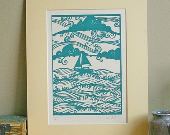 Courage - screenprint. positive affirmation, man, guy, boat, sailing, sailor, yacht, ship, sea, nautical, dark turquoise, teal