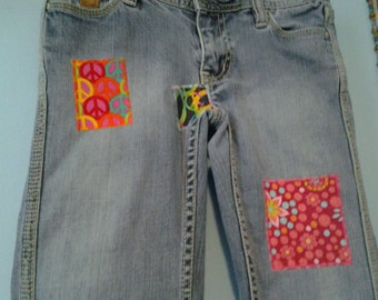 SALE* Upcycled Teen Hippie Chick Jeans: Peace Signs and Flowers, festival, music, summer, love, groovy