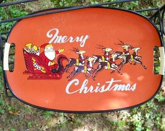 Mid Century LacquerWare  Merry Christmas Santa Reindeer Orange Red Black Serving Decorative Tray Pressed Paper