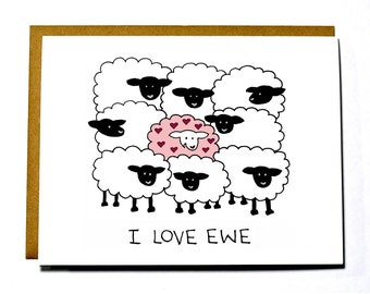 I Love You, I love ewe card, sheep, funny Valentine's Day card