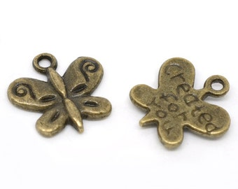 "antique vintage style bronze butterfly charms pendants ""created for you"" jewelry finding 13 x 13 mm earrings bracelets necklaces DIY"