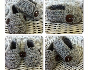 Crochet Tweed Newborn 0-3 Months and 3-6 Months Loafers Shoes Photo Prop