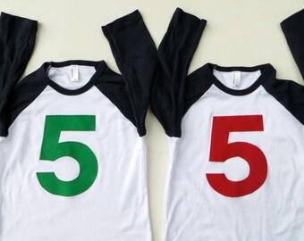 5 on navy and white Birthday T Shirt Any Birthday Shirt Boy Girl 5 and up