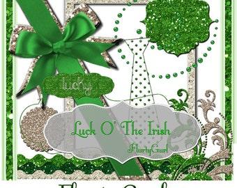 St. Patricks Day Luck O The Irish Digital Scrapbook elements kit