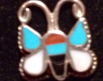 Turquoise Butterfly Earrings Vintage Hippie Silver Turquoise Coral Onyx Inlay Figural Butterfly Native American pierced Earrings