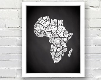 Africa Typography Map with Chalkboard background - INSTANT DOWNLOAD - 8x10