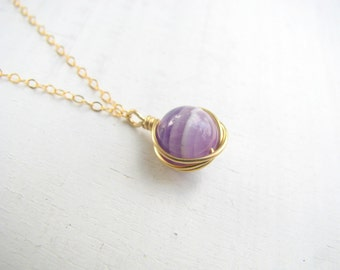 Amethyst necklace, february birthstone, gold necklace, wire wrapped necklace,  february birthday gift, dainty necklace gold