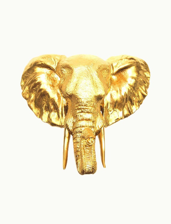 Gold Elephant Wall Decor : Faux elephant head taxidermy the toker by whitefauxtaxidermy
