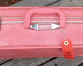 Reserve for Amy--Fabulous Skyway mid century suitcase, hard to find coral pink vinyl, gray quilted fabric lining, 1950's-'60's era