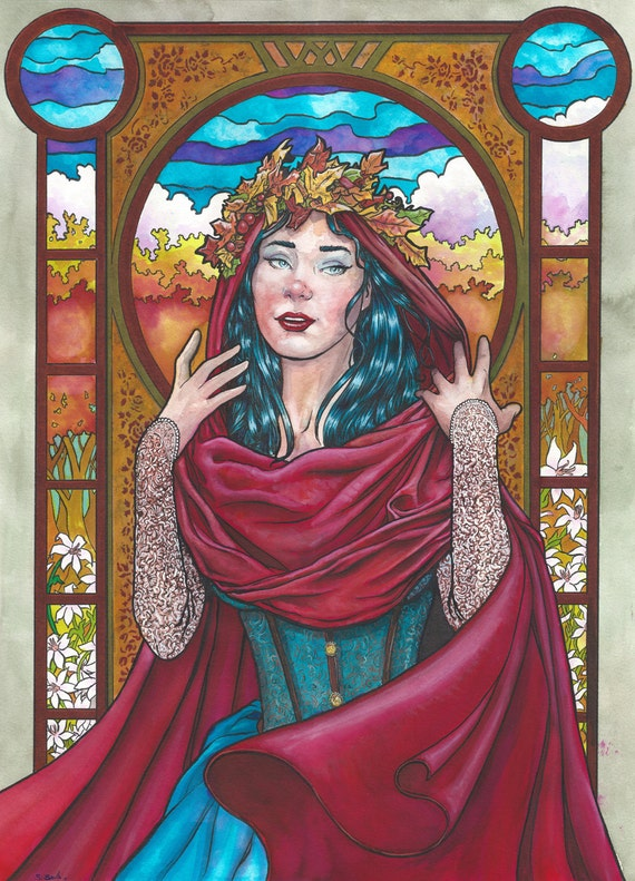Art Nouveau 19 Original Watercolor by Scott Christian Sava