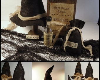Witch Hat Pattern, spell book cover, spell bag, Primitive Halloween pattern, e pattern, digital pattern,Halloween decor