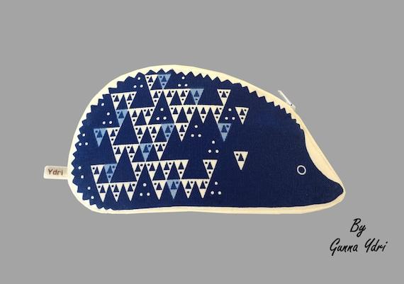 Scandinavian geometric hedgehog triangle Coin Purse make up bag white cotton blue