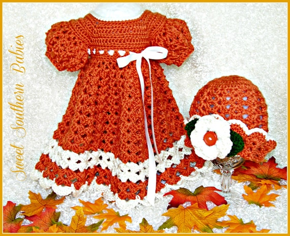 Baby Girl's  Fall Dress with Matching Hat - Perfect for Thanksgiving