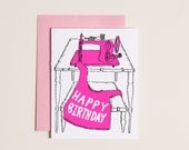 Happy Birthday Sewing Machine - Letterpress Birthday Card