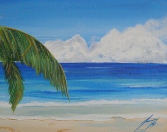 Caribbean Getaway  - Framed Original 8 X 10 Painting - Last 3 days at this SALE price