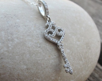Crystal Key Charm Necklace- Heart Key Necklace- Key Lock Necklace