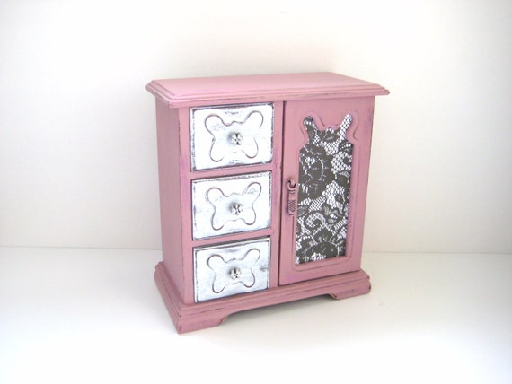 Vintage Jewelry Box - Shabby Chic Ucycled - Pretty Pink White