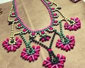 Preppy Custom Vintage Hand Painted Rhinestone Statement Necklace - Tom Binns look