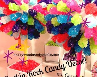 Rainbow Rock Candy Centerpiece Topiary Tree, Candy Buffet Decor, Candy Arrangement Wedding, Mitzvah, Party Favor, Edible Art