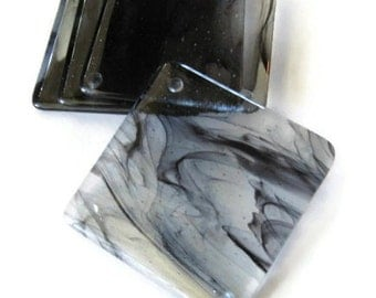 Coasters - smokey clouds on clear fused glass