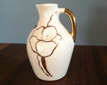 Vintage 22 Karat Gold Painted Bud Vase