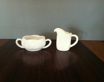 Vintage Cut Milk Glass Cream and Sugar Set