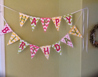 Happy Birthday Chevron Banner
