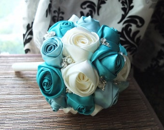 Ribbon Rose Bouquet, Satin Rose Bouquet, Ivory & Teal Flower accented with rhinestone (Large, 8 inch)