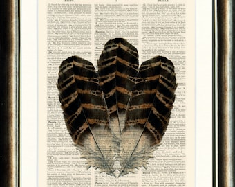 Feather Print - vintage page print book on a page from an Upcycled late 1800s Dictionary Buy 3 get 1 FREE