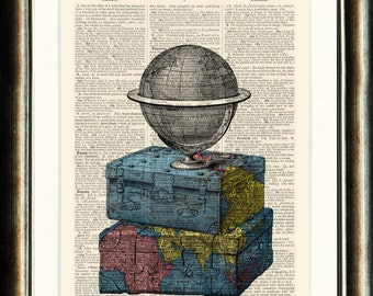Suitcases World Globe Travel - Upcycled vintage image printed on an late 1800s Dictionary page Buy 3 get 1 FREE