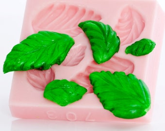 Mold silicone leaf - fondant mold - candy mold - gum paste mold - resin casting mold - clay mold - mold five leaves at one time (703)