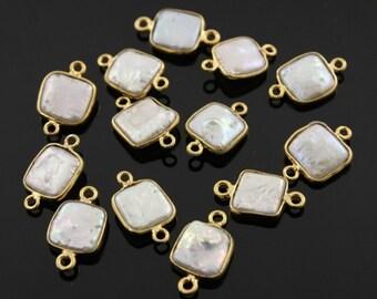Fresh Water  Pearl Square Bezel Component,  Gold Vermeil,   11mm, 1 Piece, (BZC7155)
