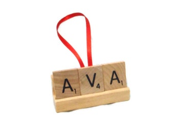 CUSTOM Scrabble Ornament, Childs Name Ornament, Family Name Gift, Pets Name Ornament, Remembrance Decor, Personalize Ornament, Upcycled Xmas