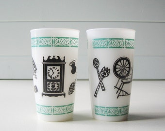 Retro Kitchen Drinking Glasses, Milk Glass Beverage Glasses, Painted Milk Glass, Teal and Black