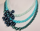 Triple Strand Blue and Green Beaded Necklace